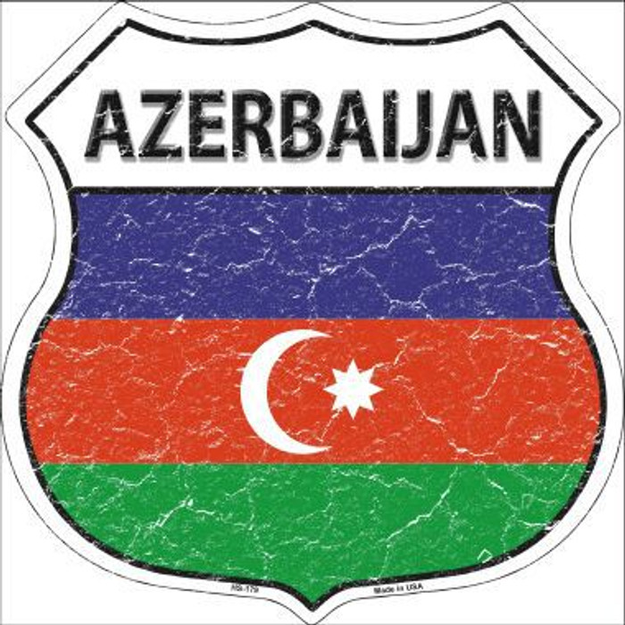 Azerbaijan Country Flag Highway Shield Metal Sign