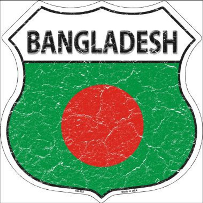 Bangladesh Country Flag Highway Shield Metal Sign