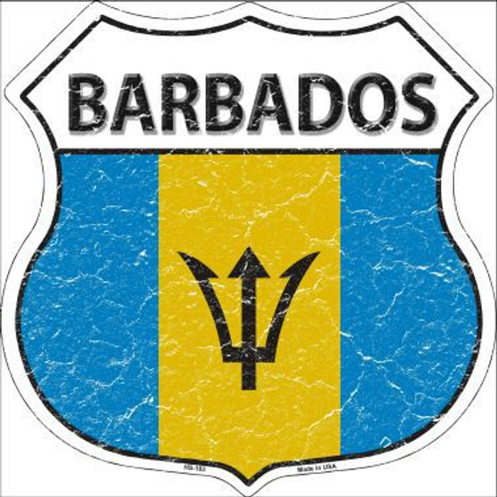 Barbados Country Flag Highway Shield Metal Sign