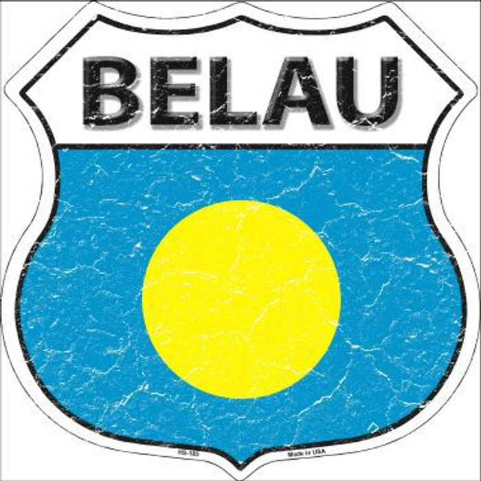 Belau Country Flag Highway Shield Metal Sign