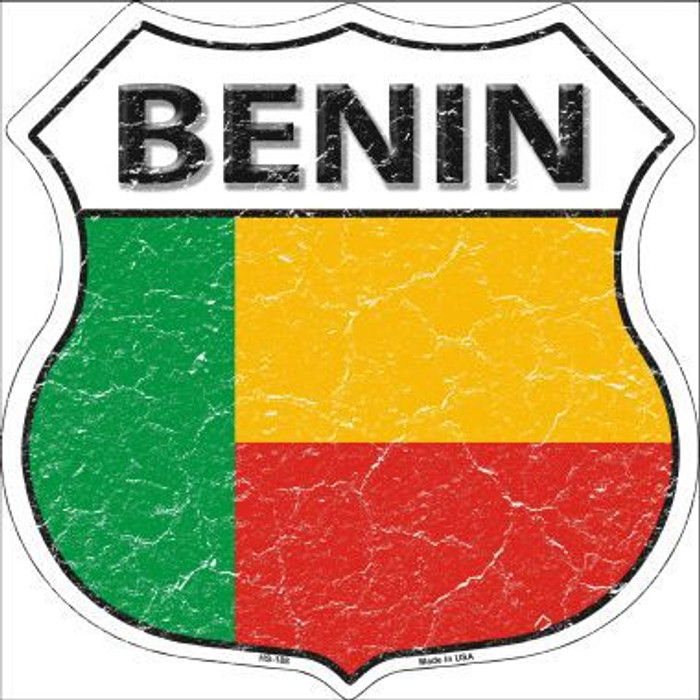 Benin Country Flag Highway Shield Metal Sign