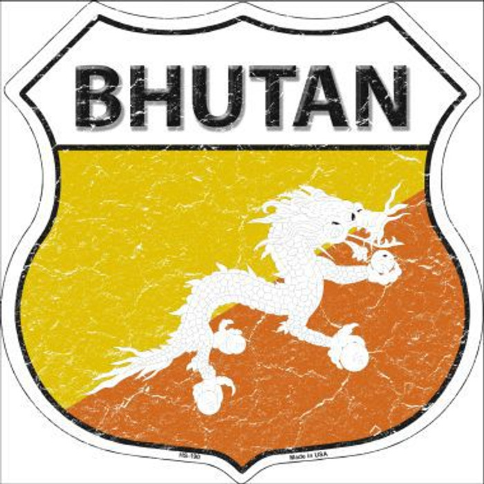 Bhutan Country Flag Highway Shield Metal Sign
