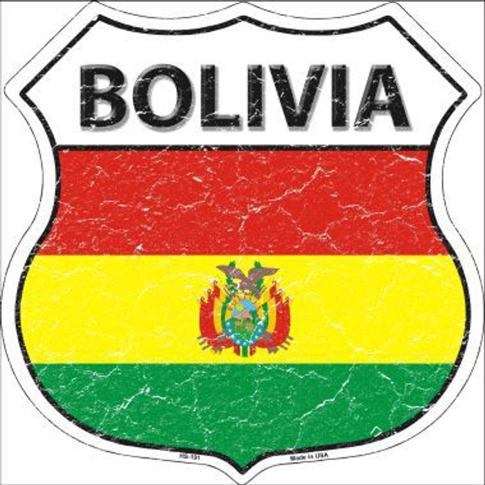 Bolivia Country Flag Highway Shield Metal Sign