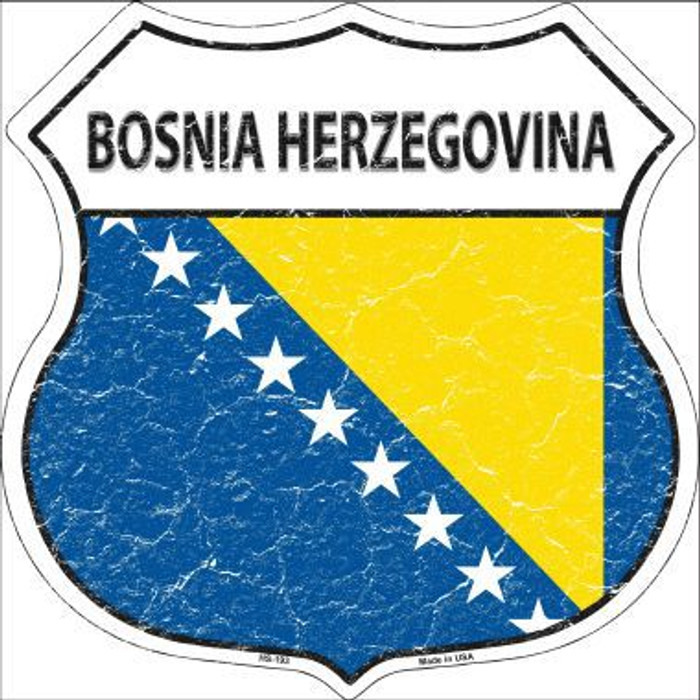 Bosnia Herzegovina Country Flag Highway Shield Metal Sign