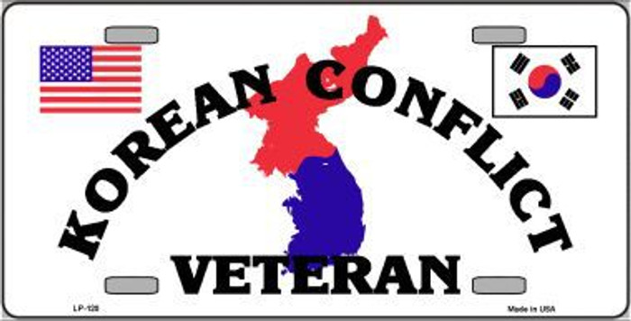 Korean Conflict Veteran Metal Novelty License Plate