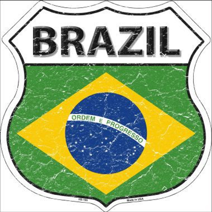 Brazil Country Flag Highway Shield Metal Sign