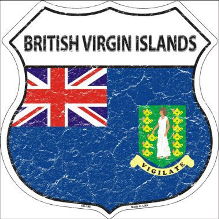 British Virgin Islands Country Flag Highway Shield Metal Sign