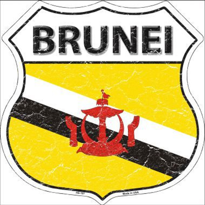 Brunei Country Flag Highway Shield Metal Sign
