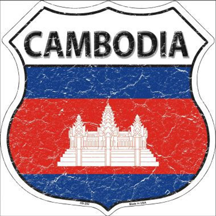 Cambodia Country Flag Highway Shield Metal Sign