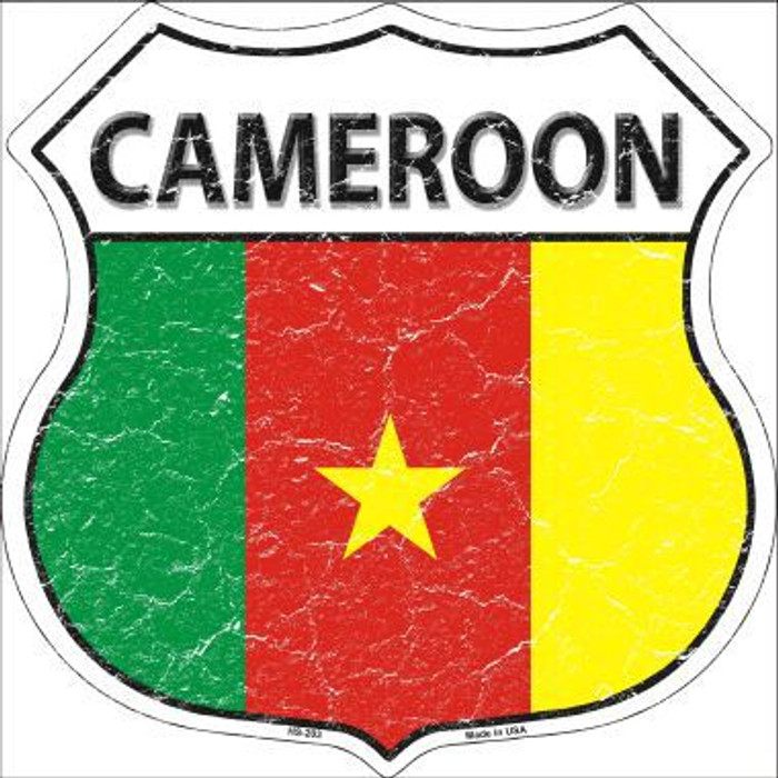 Cameroon Country Flag Highway Shield Metal Sign