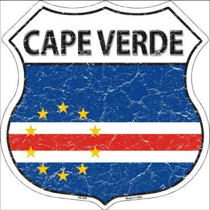 Cape Verde Country Flag Highway Shield Metal Sign