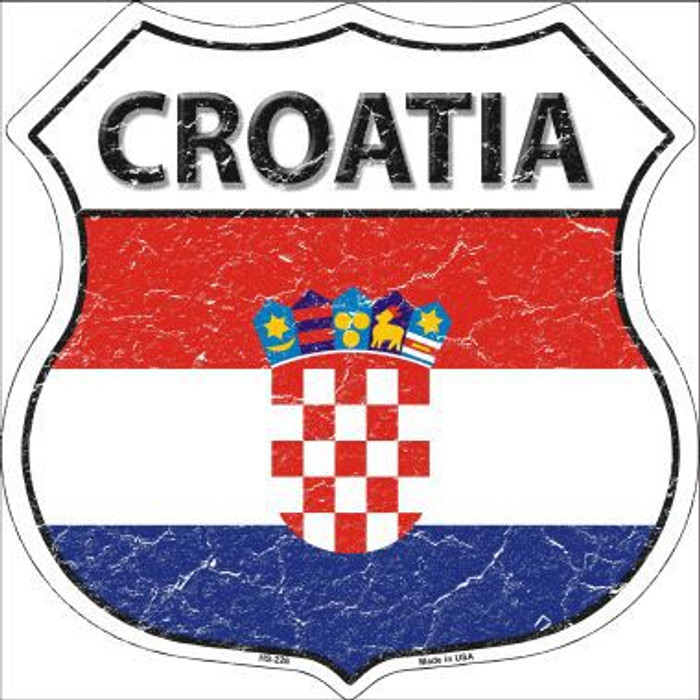 Croatia Country Flag Highway Shield Metal Sign