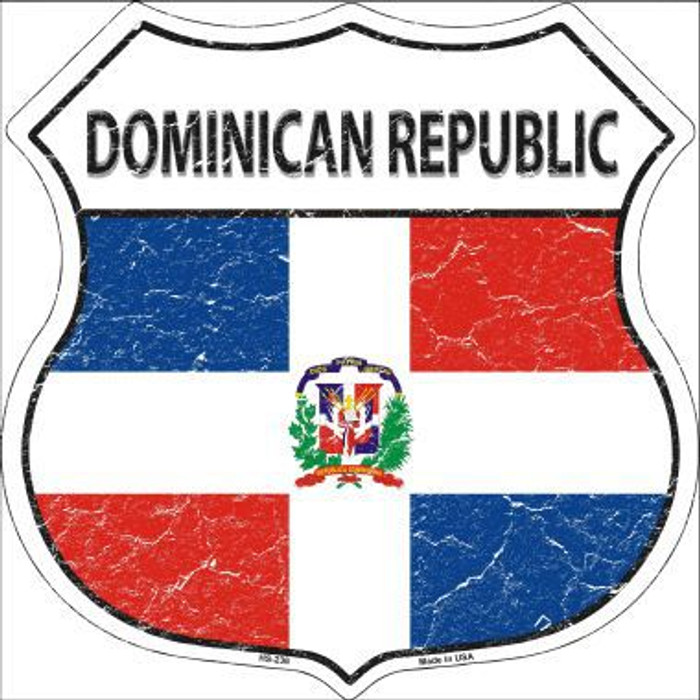 Dominican Republic Country Flag Highway Shield Metal Sign