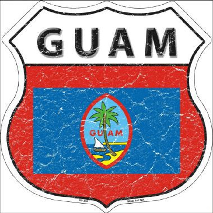 Guam Country Flag Highway Shield Metal Sign