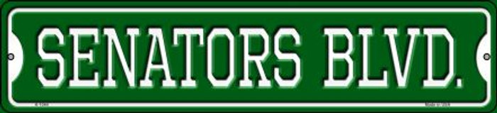Senators Blvd Novelty Small Metal Street Sign K-1044