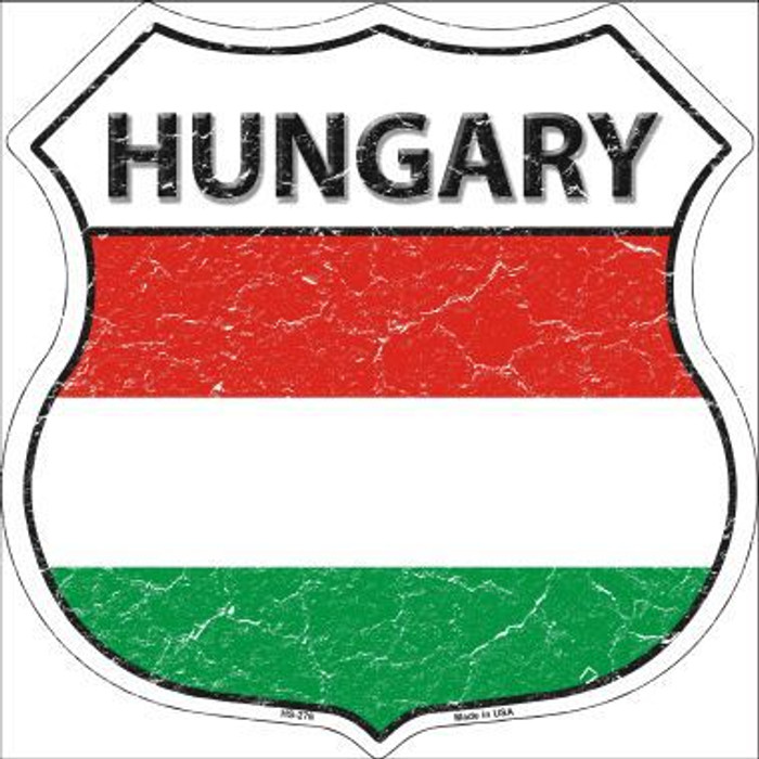 Hungary Country Flag Highway Shield Metal Sign