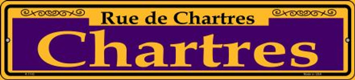 Chartres Purple Novelty Small Metal Street Sign K-1142