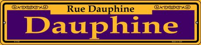 Dauphine Purple Novelty Small Metal Street Sign K-1148