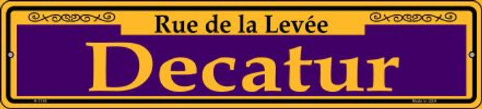 Decatur Purple Novelty Small Metal Street Sign K-1149