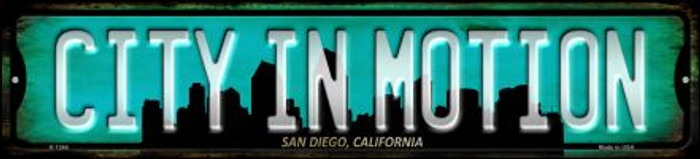 San Diego California City in Motion Novelty Small Metal Street Sign K-1246