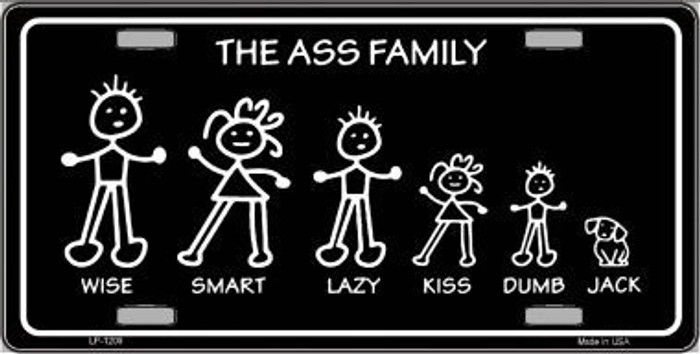 The Ass Family Novelty Metal License Plate