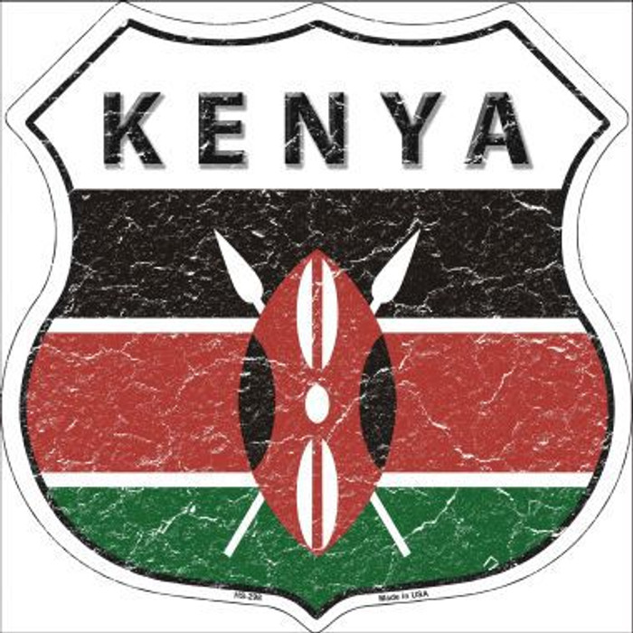 Kenya Country Flag Highway Shield Metal Sign