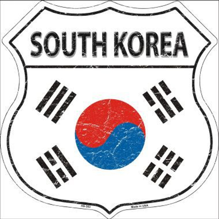 South Korea Country Flag Highway Shield Metal Sign