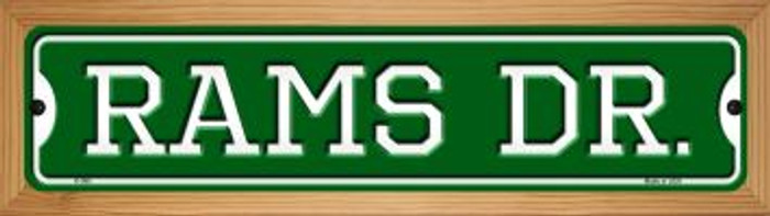 Rams Dr Novelty Wood Mounted Small Metal Street Sign WB-K-966