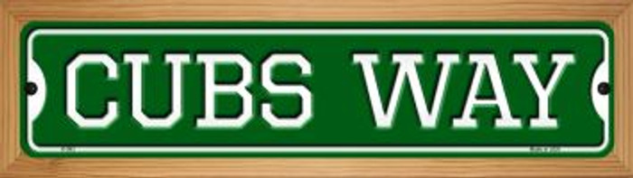 Cubs Way Novelty Wood Mounted Small Metal Street Sign WB-K-983
