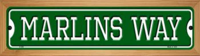 Marlins Way Novelty Wood Mounted Small Metal Street Sign WB-K-989