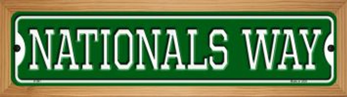 Nationals Way Novelty Wood Mounted Small Metal Street Sign WB-K-991