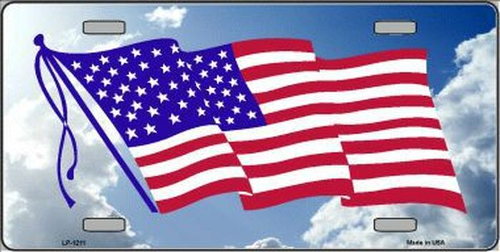 American Flag Cloud Background Novelty Metal License Plate