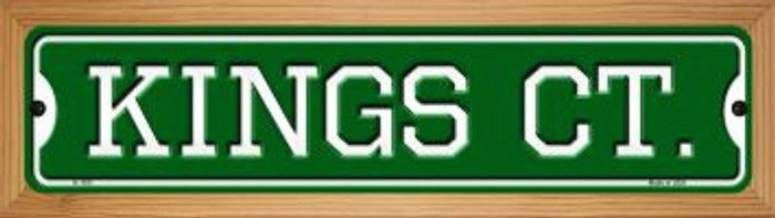 Kings Ct Novelty Wood Mounted Small Metal Street Sign WB-K-1031