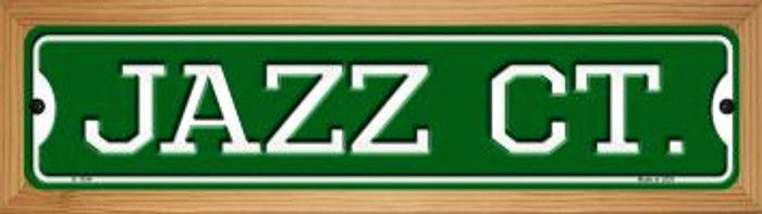 Jazz Ct Novelty Wood Mounted Small Metal Street Sign WB-K-1034
