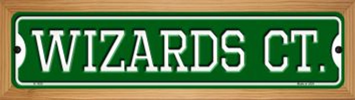 Wizards Ct Novelty Wood Mounted Small Metal Street Sign WB-K-1035