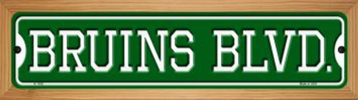 Bruins Blvd Novelty Wood Mounted Small Metal Street Sign WB-K-1036