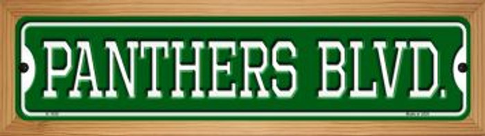 Panthers Blvd Novelty Wood Mounted Small Metal Street Sign WB-K-1039