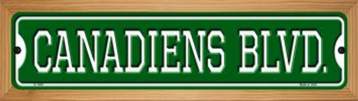 Canadiens Blvd Novelty Wood Mounted Small Metal Street Sign WB-K-1040