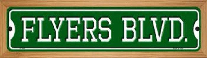 Flyers Blvd Novelty Wood Mounted Small Metal Street Sign WB-K-1045