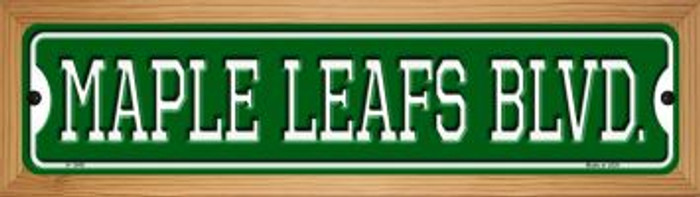 Maple Leafs Blvd Novelty Wood Mounted Small Metal Street Sign WB-K-1048