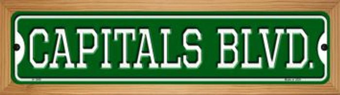 Capitals Blvd Novelty Wood Mounted Small Metal Street Sign WB-K-1049