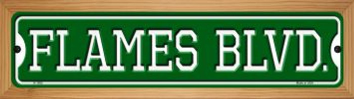 Flames Blvd Novelty Wood Mounted Small Metal Street Sign WB-K-1052