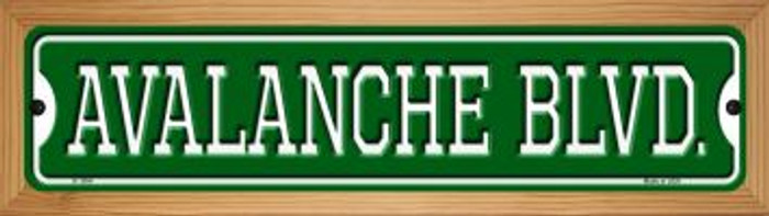 Avalanche Blvd Novelty Wood Mounted Small Metal Street Sign WB-K-1054