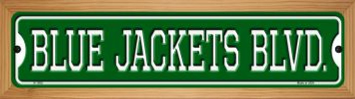 Blue Jackets Blvd Novelty Wood Mounted Small Metal Street Sign WB-K-1055