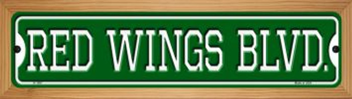 Red Wings Blvd Novelty Wood Mounted Small Metal Street Sign WB-K-1057