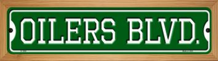 Oilers Blvd Novelty Wood Mounted Small Metal Street Sign WB-K-1058