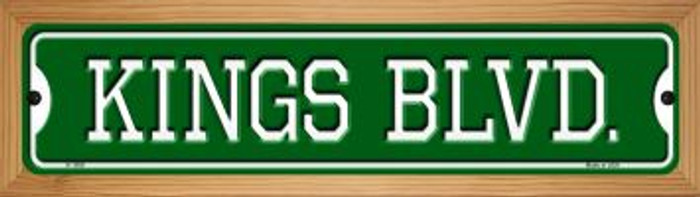 Kings Blvd Novelty Wood Mounted Small Metal Street Sign WB-K-1059