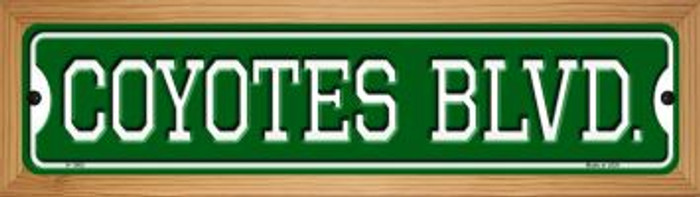 Coyotes Blvd Novelty Wood Mounted Small Metal Street Sign WB-K-1062