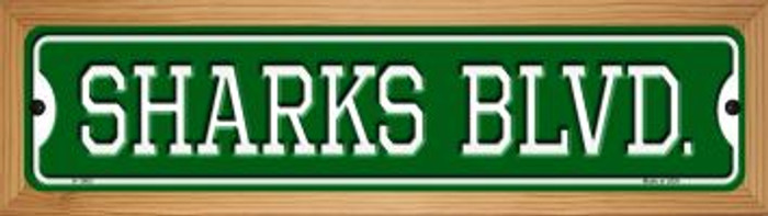 Sharks Blvd Novelty Wood Mounted Small Metal Street Sign WB-K-1063