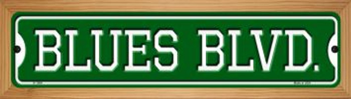 Blues Blvd Novelty Wood Mounted Small Metal Street Sign WB-K-1064